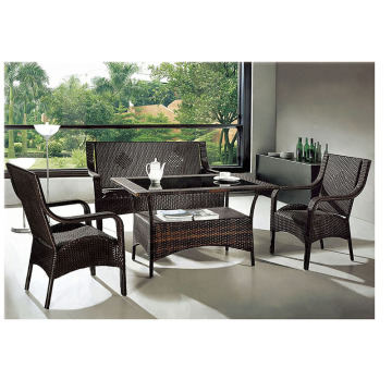 PE Wicker Furniture Mesa e cadeira de lazer