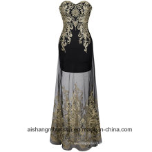 Women Embroidery Lace Sleeveless Evening Party Prom Dress