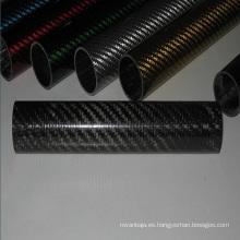 Tubo de escape de fibra de carbono de sarga 3k