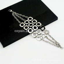 Bohemia Style 3 Ketten Kombination Mesh Edelstahl Silber Kette Link Armbänder für Mädchen