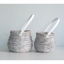 Round drum-like wash white rattan flower pot