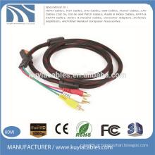 HDMI para 3RCA Cabo Trança de nylon com duas ferritas Áudio Cabo Vedio AV