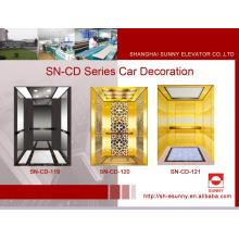 Cabina del elevador con el espejo de oro negro (SN-CD-119)