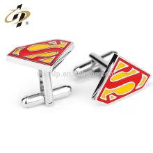 Productos superventas de fundición superman esmalte de plata personalizada de metal gemelos mercado