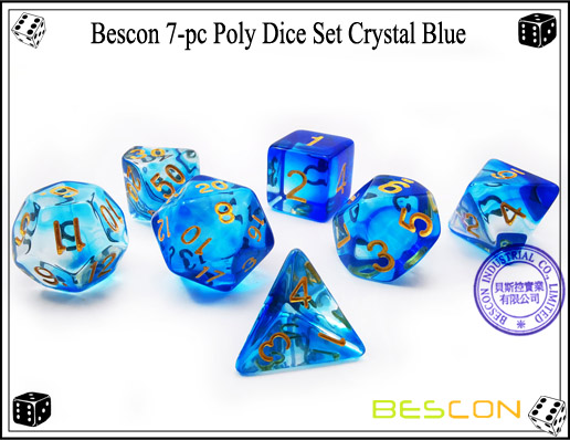 Crystal Blue Dice Set-2