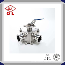 304 or 316L Sanitary Stainless Steel Three Way Clamped Ball Valve