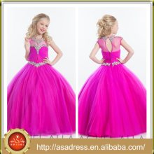 ARC-10 Princess Fúcsia Tulle Flower Girl Dress Full Length Girl Festa de festa Crystal Beaded Girl Dress