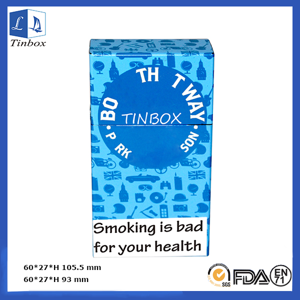 Custom High-End Cigarette Pack Hinged Tin Box