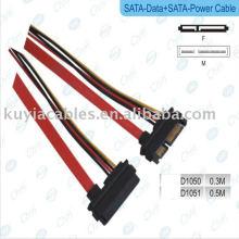 Cable de alimentación de datos macho a hembra SATA 15 + 7 P