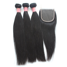 Unprocessed Indian Straight Hair Bundles With Closure