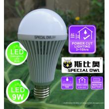9W lâmpada LED de emergência recarregável com bateria de reserva E27 B22