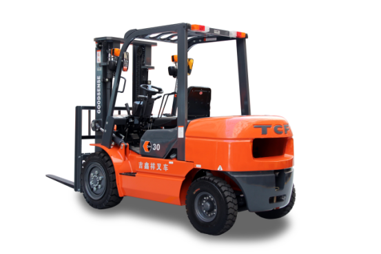 Goodsense T-series forklift advantages: 1.Strong Power System.GOODSENSE forklifts are all with reliable power accessories.All accessories like engine, gear box are support by domestic and world famous brand, high quality, reliable after-sales.We follow the strict environmental design,all engines match the China Ⅲ or even higher emission standards. 2.Super comfortable.GOODSENSE forklifts are all with comfortable driving space,adjustable steering wheel and seats,super low and non-slip step,suspension steering axle,storing space,and convenient LCD panel. 3.High Security.Whole perspective mast and backrest, super good view,high strength overhead guard,high place security combination lamp,neutral security features,parking brake,fork lock function(optional),all for safety.  General						 Model		FD30T	FD35T	FD38T	FD40T Power Type		Diesel	Diesel	Diesel	Diesel Load Capacity	kg	3000	3500	3800	4000 Load centre	mm	500	500	500	500 Tyre						 Tyre			Pneumatic Tyre	Pneumatic Tyre	Pneumatic Tyre	Pneumatic Tyre Front Tyre		28×9-15-12PR	28×9-15-12PR	28×9-15-12PR	250-15-16PR Rear Tyre		6.50-10-10PR	6.50-10-10PR	6.50-10-10PR	6.50-10-10PR Overall Dimension						 Lift Height	mm	3000	3000	3000	3000 Fork Size	L×W×T	mm	1070×125×45	1070×125×50	1070×125×50	1070×125×50 Mast Tilt Angle	F/R	.	6/12	6/12	6/12	6/12 Mast Lowered Height	mm	2115	2150	2150	2195 Mast Extended Height(with backrest)	mm	4175	4175	4175	4180 Length to face of fork(Without fork)	mm	2780	2840	2840	2890 Overall Width	mm	1230	1230	1230	1410 Overhead Guard Height	mm	2110	2110	2110	2120    Application Area: 1.Warehouse 2.Port 3.Factory 4.Distribution Center 5.Logistics  If you have any other questions,please contact us directly.Our forklift are all with high quality,and you can choose any other engine to equip.It can be produced according to your idea.And we invite you to visit our factory.