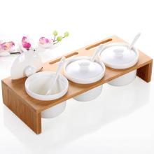 Bamboo Stand Ceramic Spice Jar Set