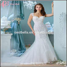 Elegantes Elfenbein-Meerjungfrau-Satin-Hochzeits-Kleid Cestbella XL023