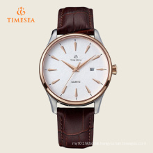 Mens Watch Auto Date Quartz Movement Leather Strap Wristwatches 72329