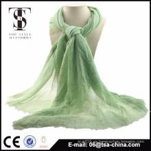 2015 nuevo color verde de la bufanda del resorte del poliester de las mujeres de la manera