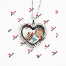 30 milímetros de liga de metal de cristal coração lockets colar presentes de Natal (chl50925)