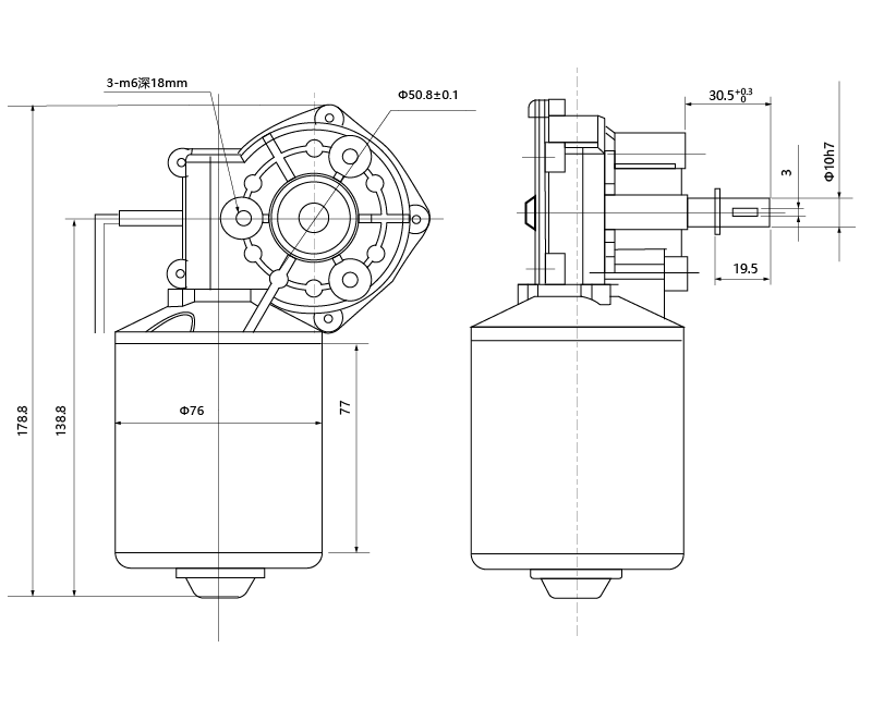 Drawing of MAINTEX ZD76-2495-180 DC Gear Motor