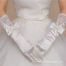 Satin lace appliques hot sale high quality bridal wedding lace gloves