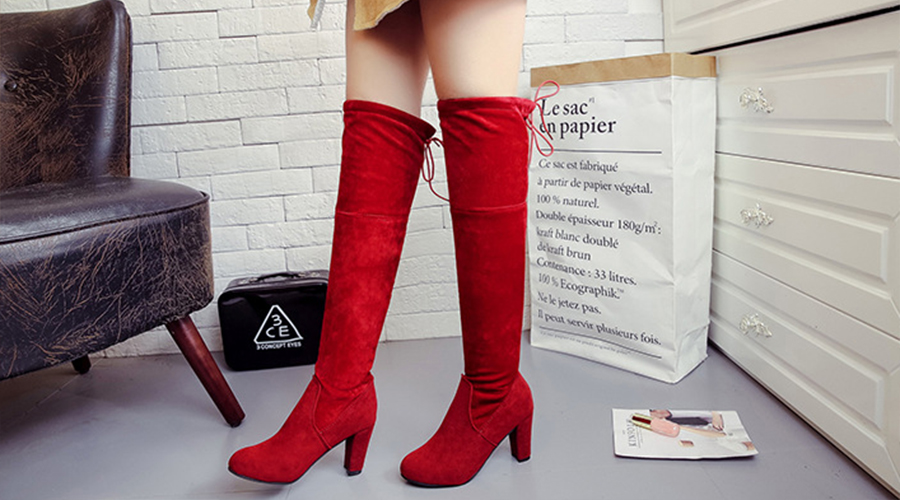 Red Over-the-knee Boots