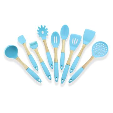 Nonstick Blue Color 9PCS Matlagning Silikonredskap Set