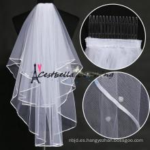 De alta calidad de seda elegante Tulle velo blanco de la boda Chic velas nupciales