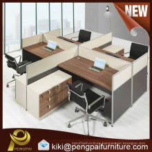 White and walnut L Shape Office 4 Persons Workstation