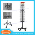 4 sides rotating metal wire cd display rack with wheels