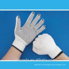 10 gauge gebleichtes weißes Polyester gemischte Arbeitshandschuhe mit PVC-Punkten auf Palme