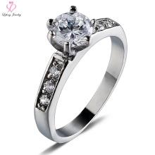 Bague en acier de titane d'argent de diamant de pierres des femmes, bague de l'acier inoxydable chirurgical 316l de bijoux de mariage femelle