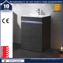 Moderne schwarze Melamin-Boden stehende Badezimmer-Eitelkeiten mit Licht