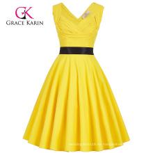 Grace Karin sin mangas cariño V-Back High Stretchy Amarillo 50s Retro Vintage Pin Up Vestido CL008948-3