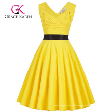 Grace Karin Sleeveless Sweetheart V-Back High Stretchy Yellow 50s Retro Vintage Pin Up Dress CL008948-3