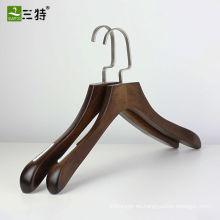 Percha de abrigo vintage marrón antideslizante para mujer de 16 pulgadas
