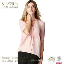 JS-12012 manga curta e casaco de cashmere puro padrão de pescoço V para mulheres