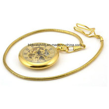 Reloj de bolsillo mecánico de oro de la calidad de encargo con la cadena para las mujeres de los hombres