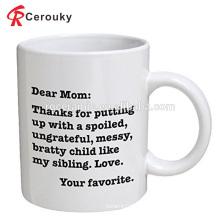 Aduana para la taza de porcelana de cerámica blanca del regalo de la madre