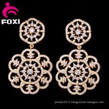 2016 Bijoux créatifs à la mode Vente en gros Boucles d'oreilles pendantes à double fleur