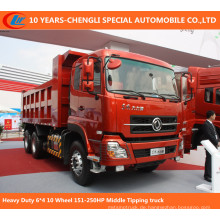Heavy Duty 6 * 4 10 Rad 151-250 PS Middle Tipping Truck