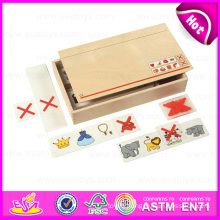 2015 Traditional Innovation Wooden Domino Set Toy, Domino Set Toy with Wooden Box, High Quality Children Wooden Domino Set W15A057