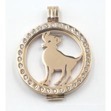 Oro plateado Rd Locket con placa de moneda de animal flotante
