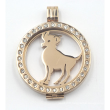 Gold Plated Rd Locket with Floating Animal Coin Plate