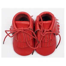 Baby Red Tassel Paragraph: Leather Shoes