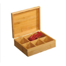 Wholesale bamboo tea box with 6 storage sections