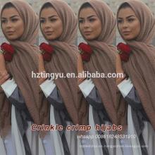 Hot whosale borlas bufanda de burbuja de algodón musulmán viscosa chal hijab