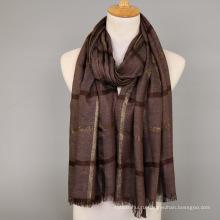 2017 Женская мода neckerware хлопок шарф шали Золотой шелковый смесь шарф