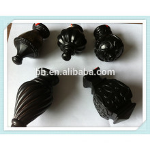 China Best Seller Black Round Dental Cortina Rod resina Finials resina para venda