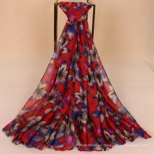 Venta caliente retro paquistaní bufanda hijab hermoso bauhinia flor impreso 5 colores mujeres dama de algodón voile bufanda