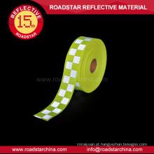 Fita de advertência reflexivo tecido oxford amarelo fluorescente