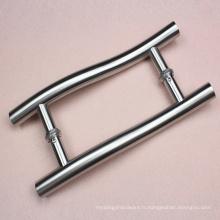 Ensemble de poignée de porte en verre d'acier inoxydable 304 de tube rond d'OEM